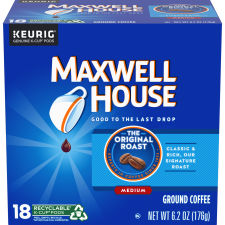 Maxwell House Original Roast Coffee K-Cup Pods, 18 count