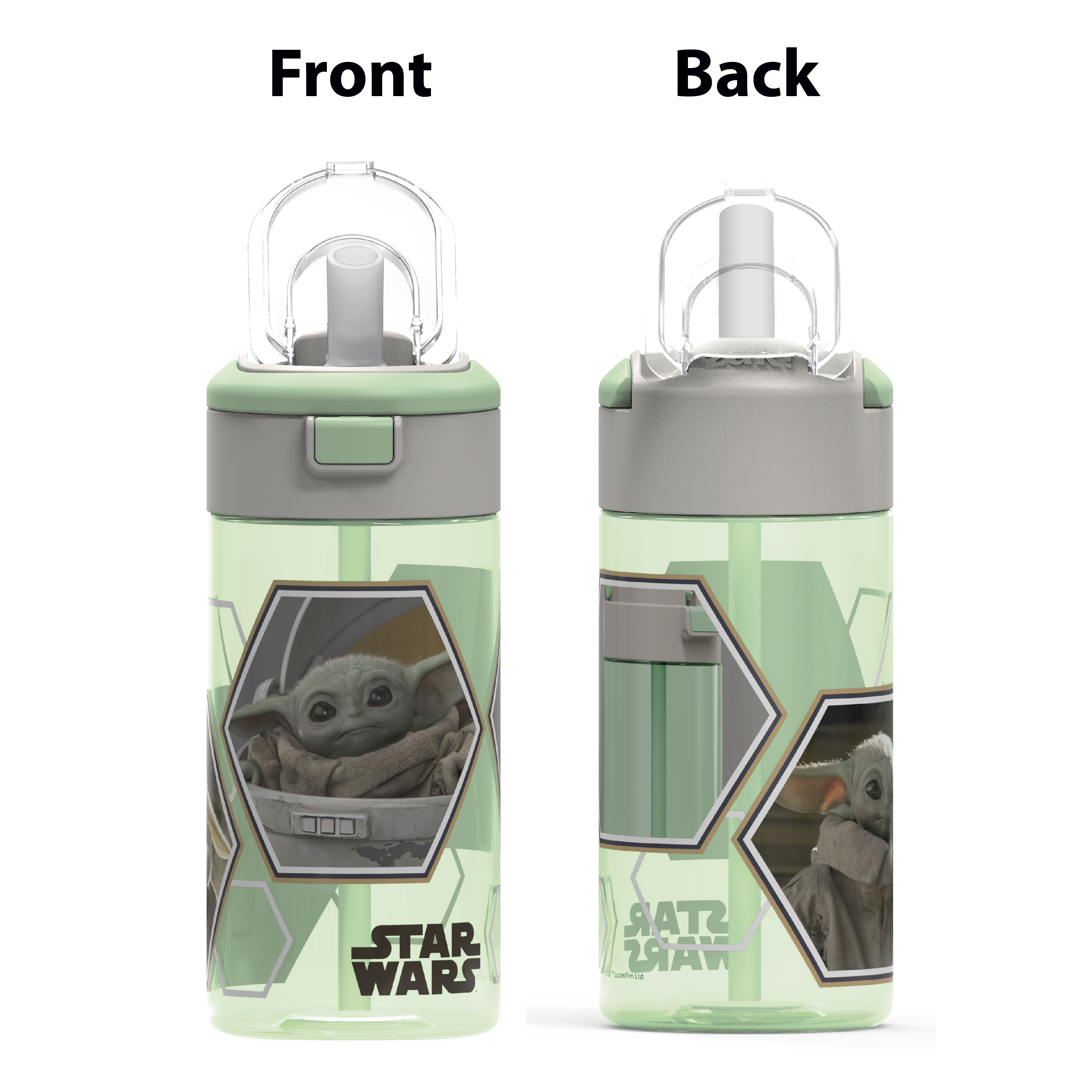 Star Wars: The Mandalorian 18 ounce Reusable Water Bottle with Straw, The Mandalorian slideshow image 7