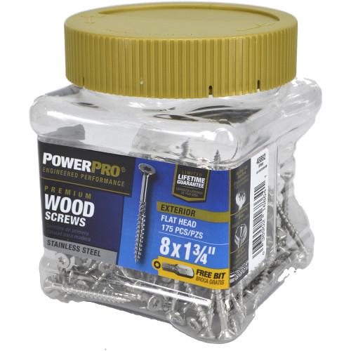Power Pro Premium Stainless Steel Wood Screws - Small Jar (#8 x 1-3/4