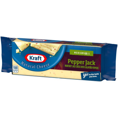 Kraft Pepper Jack Monterey Jack Cheese with Jalapeno Peppers 8 oz Wrapper