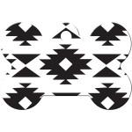 Black and White Aztec Large Bone Quick-Tag