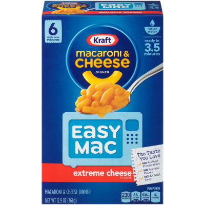 Kraft Easy Mac Extreme Cheese Macaroni & Cheese Dinner, 6 Packets, 12.9 oz Box