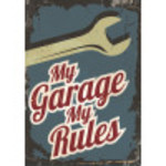 """Aluminum My Garage My Rules Wrench Sign 10"""" x 14"""""""