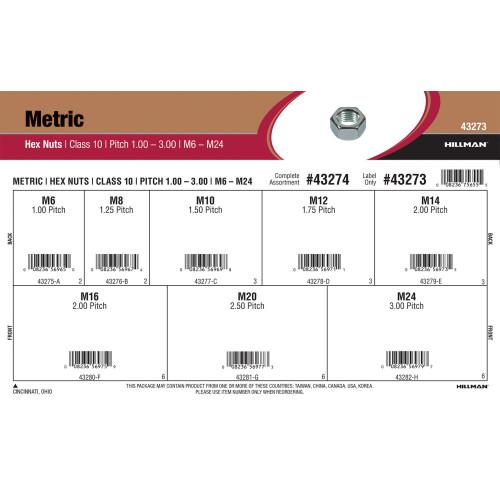 Class 10 Metric Hex Nuts Assortment (M6-1.00 thru M24-3.00)