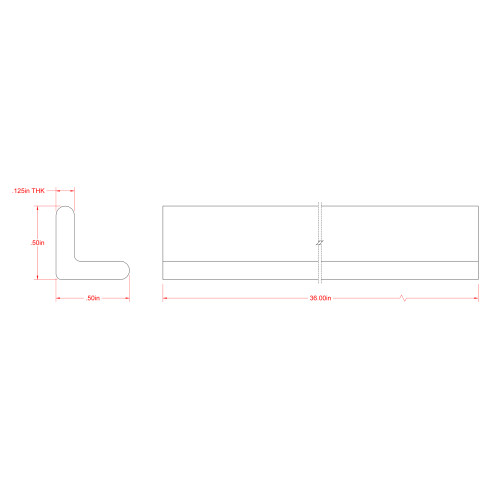 The SteelWorks Weldable Hot Rolled Steel Angle 1/8