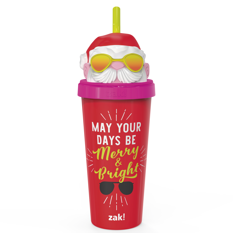 Zak Holiday 18 ounce Reusable Plastic Tumbler, Santa slideshow image 1