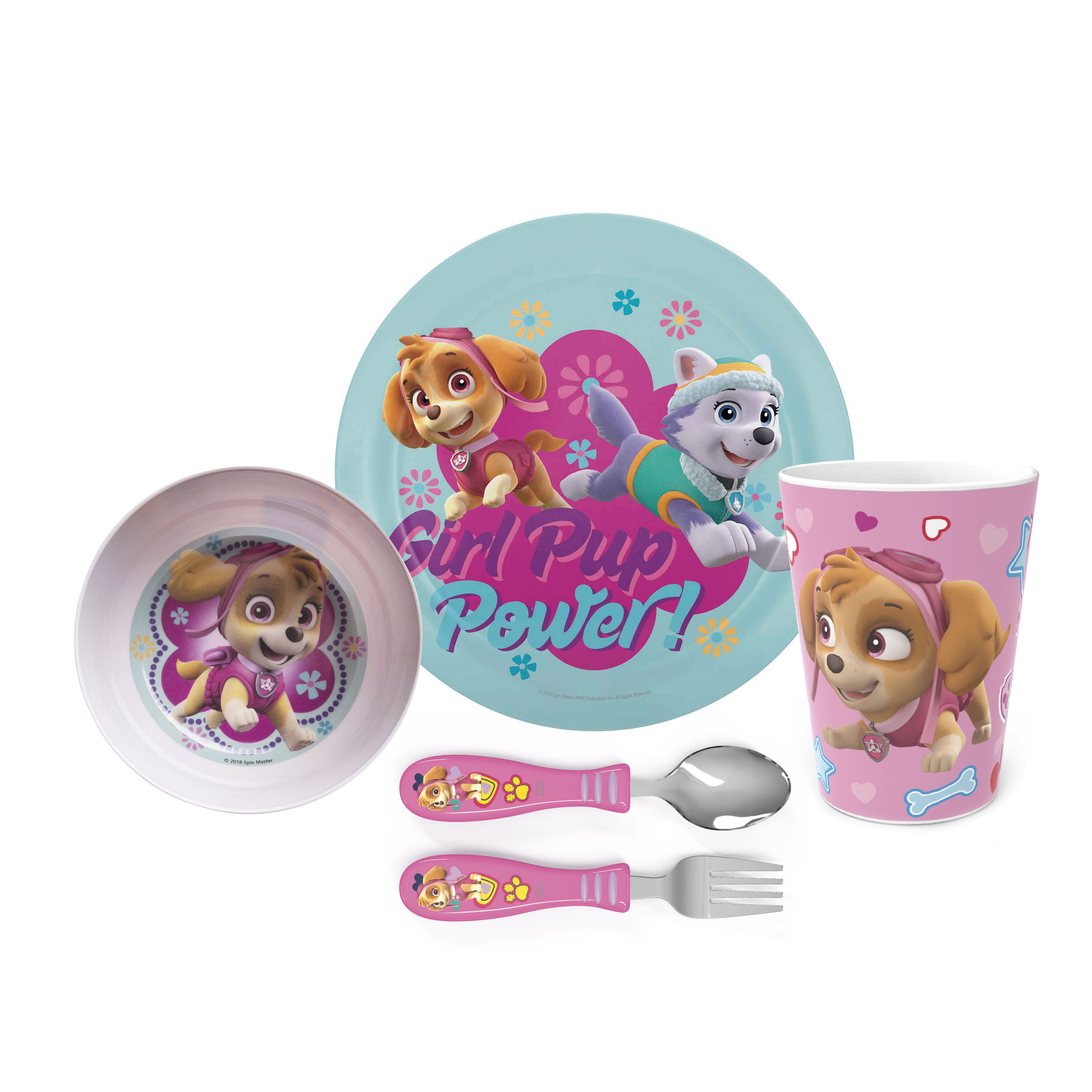 Paw Patrol Dinnerware Set, Skye and Everest, 5-piece set slideshow image 1