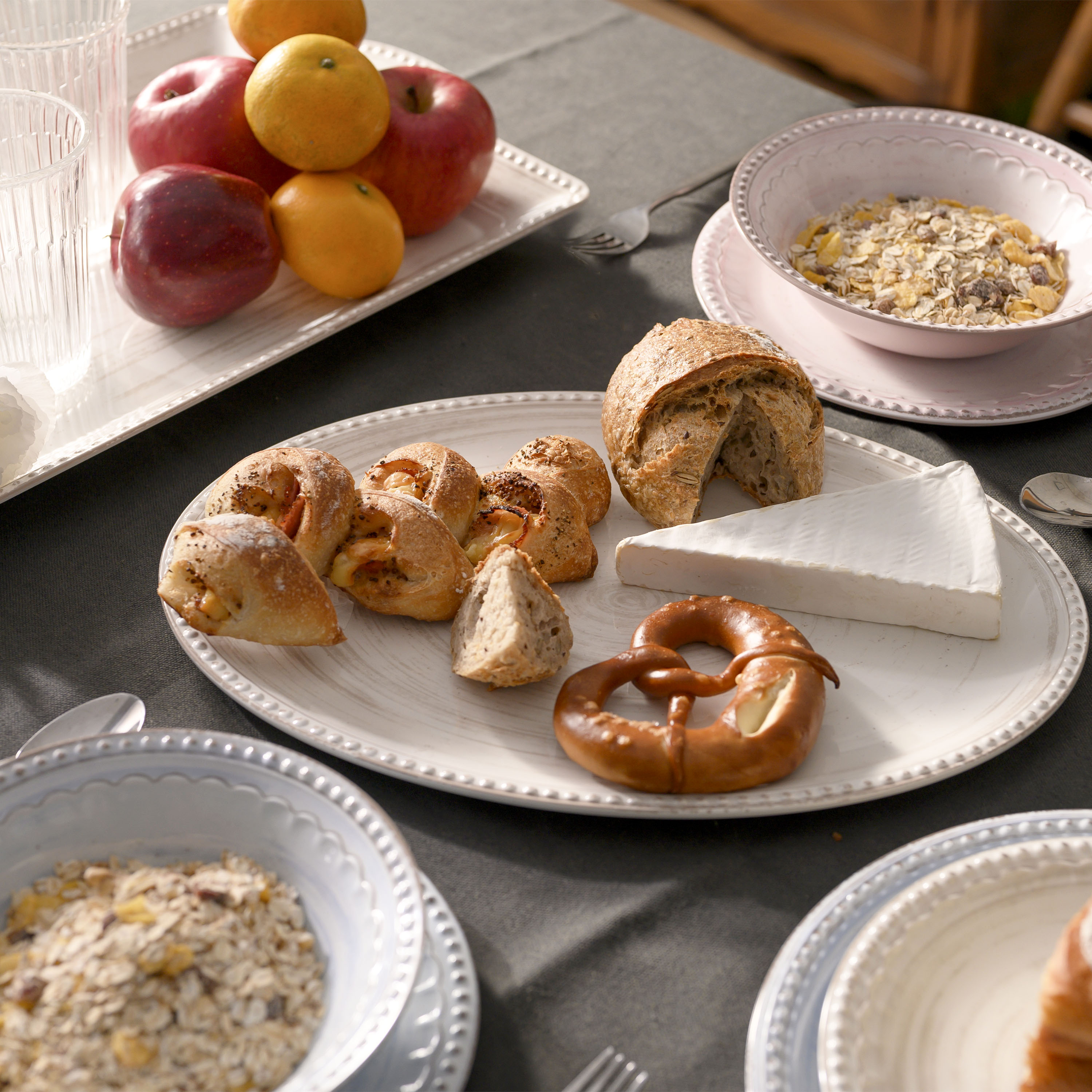 French Country Plate & Bowl Sets, Pink, 12-piece set slideshow image 2