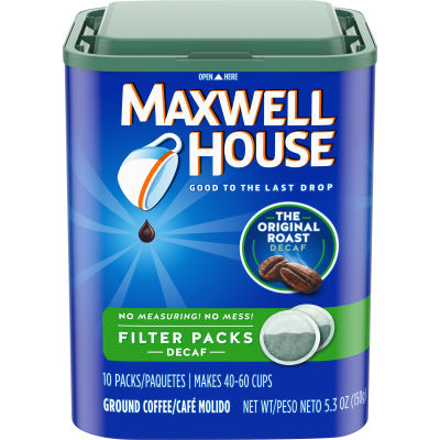 Maxwell House Decaffeinated Ground Coffee Filter Packs, 10 count Box