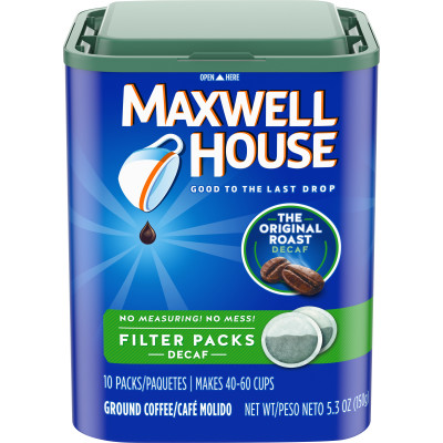Maxwell House Decaffeinated Ground Coffee Filter Packs, 10 count