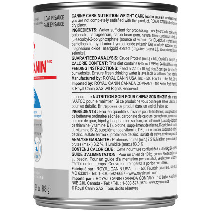 Royal Canin Canine Care Nutrition Weight Care Loaf in Sauce Canned Dog Food