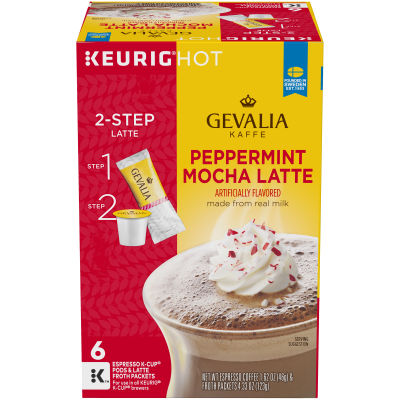 Gevalia Peppermint Mocha Latte Espresso K-Cup Packs & Froth Packets, 6 count