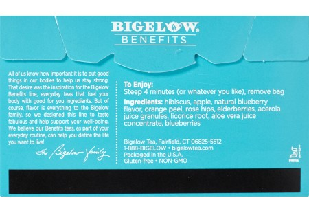 Back of Bigelow Benefits Blueberry and Aloe Herbal Tea box
