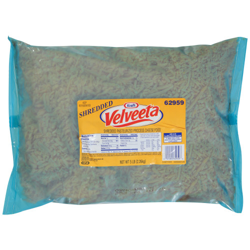 Velveeta Shredded Pasteurized Process Cheese Food 4 - 80 oz Pouches