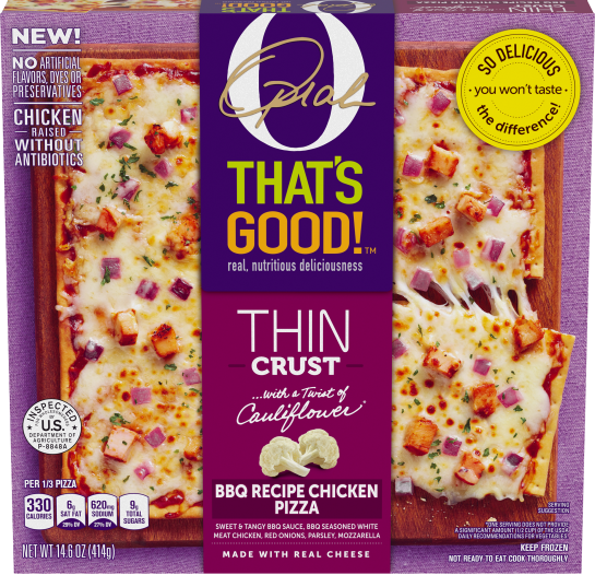 O, That's Good! Thin Crust Pizza, BBQ Chicken, 14.6 oz