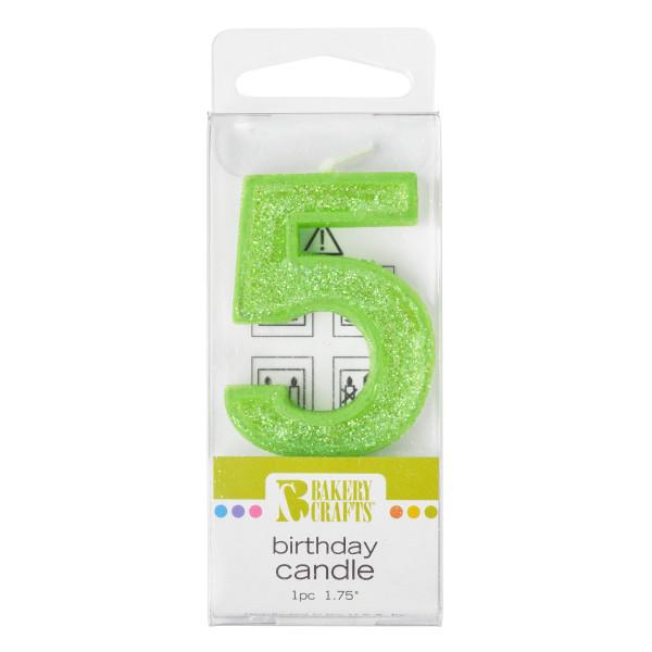 5 Mini Glitter Numeral Candles