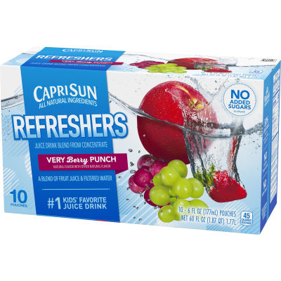 Capri Sun Fruit Refreshers Very Berry Punch Juice Drink 10 - 6 fl oz Pouches