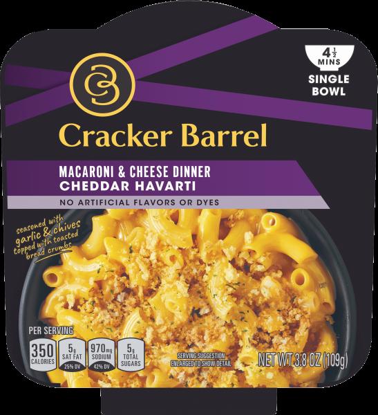 Cracker Barrel Single Bowl Cheddar Havarti Macaroni & Cheese 3.8 oz Box