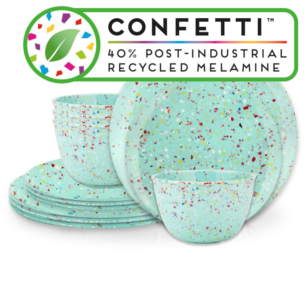 Confetti Dinnerware Set, Mint, 12-piece set slideshow image 1