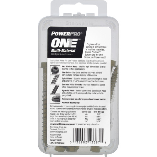 Power Pro ONE Multi-Material Screw Exterior Hex-Wash Head Bronze-Plated 1/4