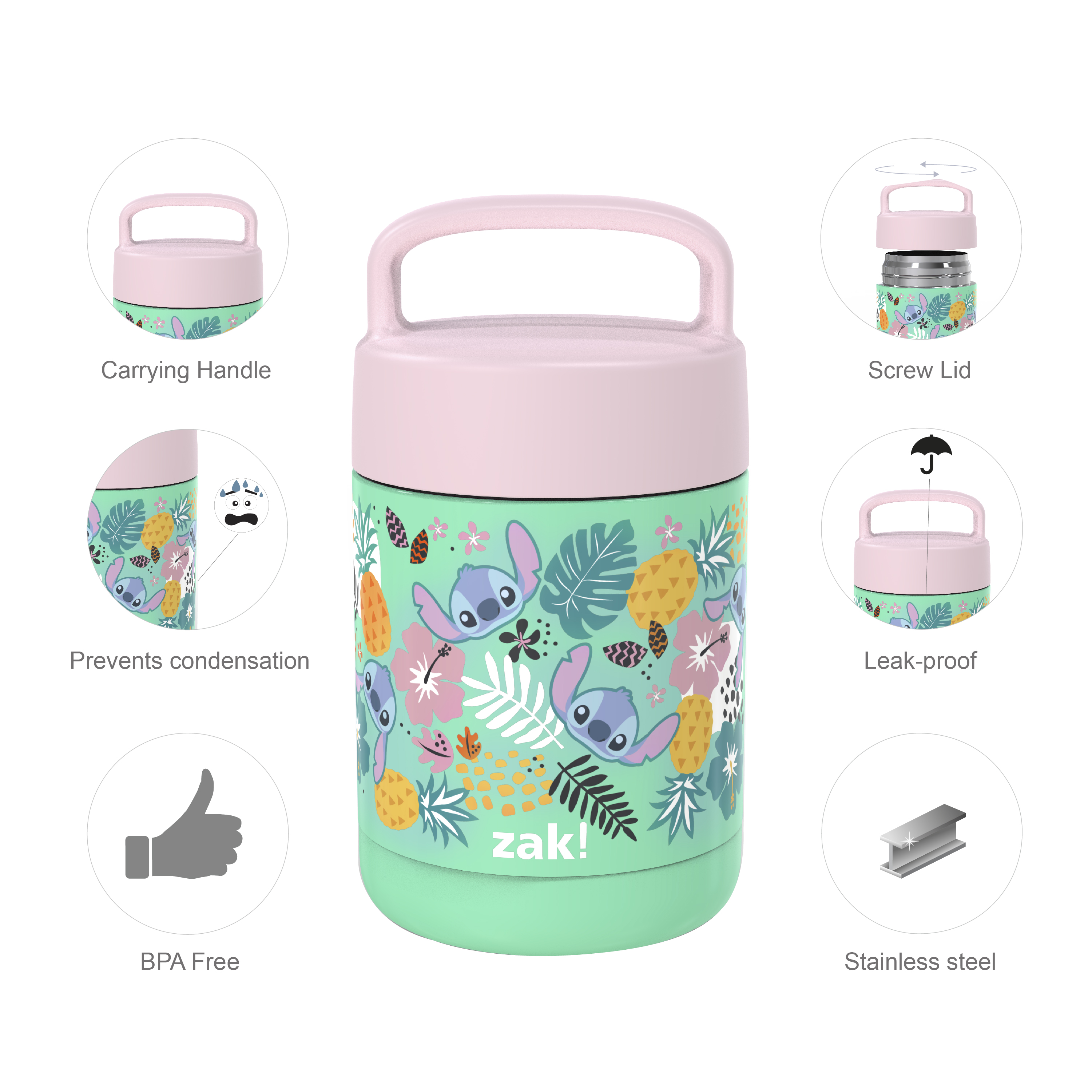 Disney Reusable Vacuum Insulated Stainless Steel Food Container, Lilo & Stitch slideshow image 8