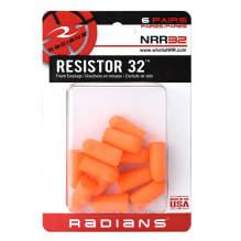 Radians Resistor® 32 Disposable Foam Earplugs - 6 Pair Uncorded