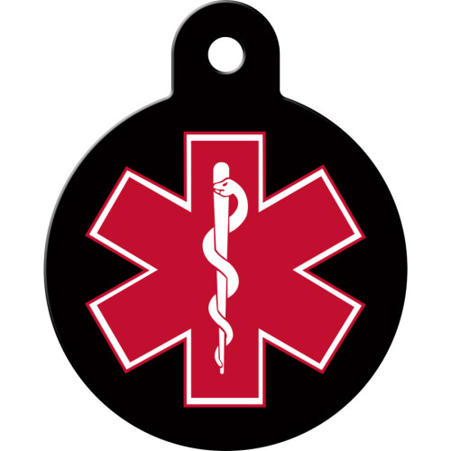 Large Circle Medical ID Black and Red Quick-Tag 5 Pack
