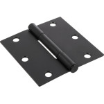 Hardware Essentials Squeak-Proof Square Corner Oil Rubbed Bronze Door Hinges