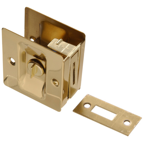 Solid Brass/Bright Brass Pocket Door Latch