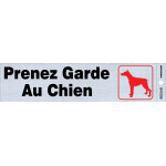 "French Adhesive Beware of Dog Sign (2"" x 8"")"