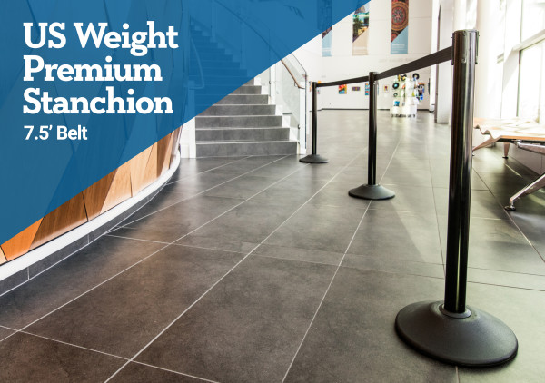 Premium Steel Stanchion - Black with Caution Belt 2