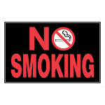 "Black No Smoking Sign with Symbol, 8"" x 12"""