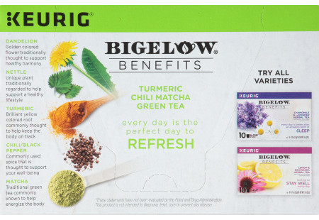 Bigelow Benefits Refresh Turmeric Chili Matcha Green  Tea K-Cups Box for Keurig