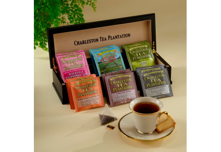 Engraved Charleston Tea Plantation Tea Chest - total of 18 pyramid teabags