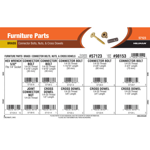Brass Furniture Parts Assortment (Connector Bolts, Nuts, & Cross Dowels)