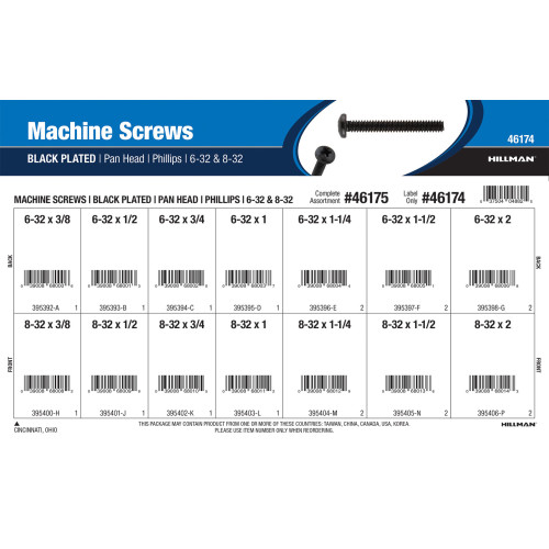 Phillips Pan-Head Black Machine Screws Assortment (#6-32 & #8-32)