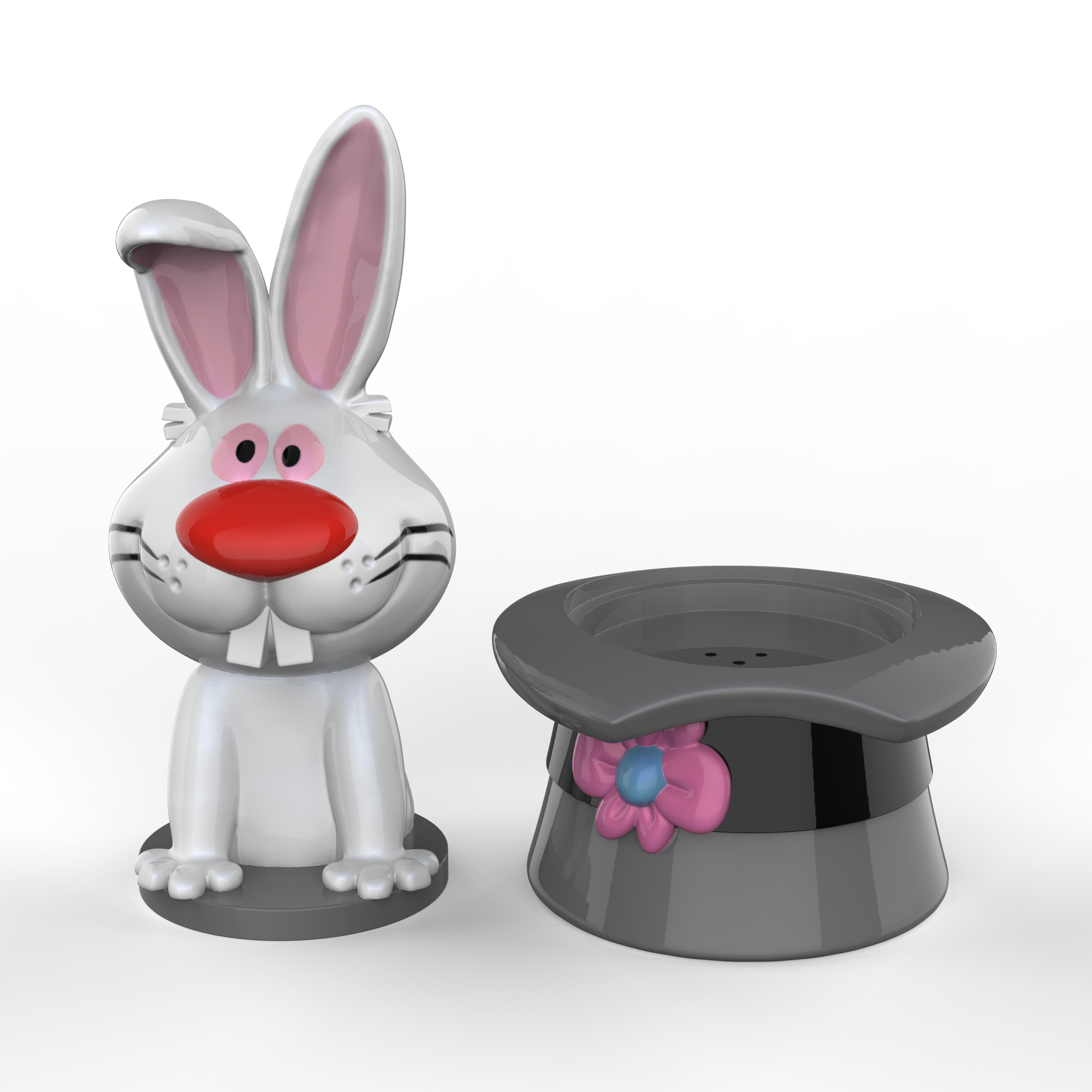 Frosty the Snowman Salt and Pepper Shaker Set, Top Hat & Bunny, 2-piece set slideshow image 5