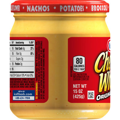 Kraft Cheez Whiz Original Plain Cheese Dip, 15 oz Jar