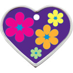Purple with Daisies Large Heart Quick-Tag - Raised Edge