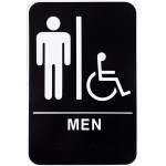 """Men's Handicapped Restroom Sign with Braille (6"""" x 9"""")"""