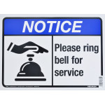 "Ring Bell For Service Notice Sign (10"" x 14"")"