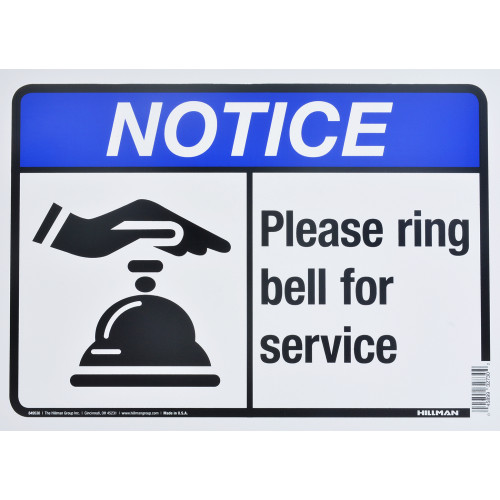 Ring Bell For Service Notice Sign (10