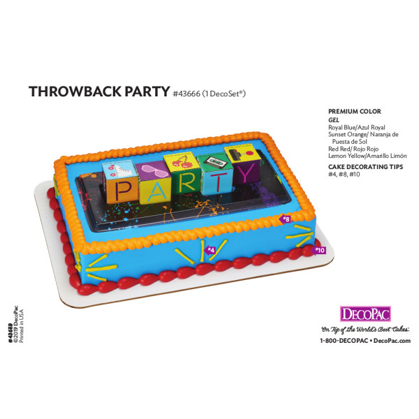 Throwback Party Cake Decorating Instruction Card