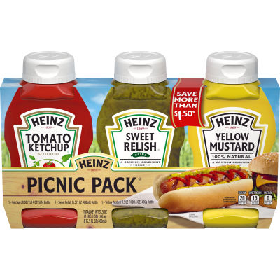 Heinz Variety Pack Ketchup, Sweet Relish & Yellow Mustard 3 count Sleeve