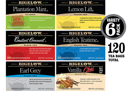 Cups of assorted Bigelow Black Teas with foil overwraps