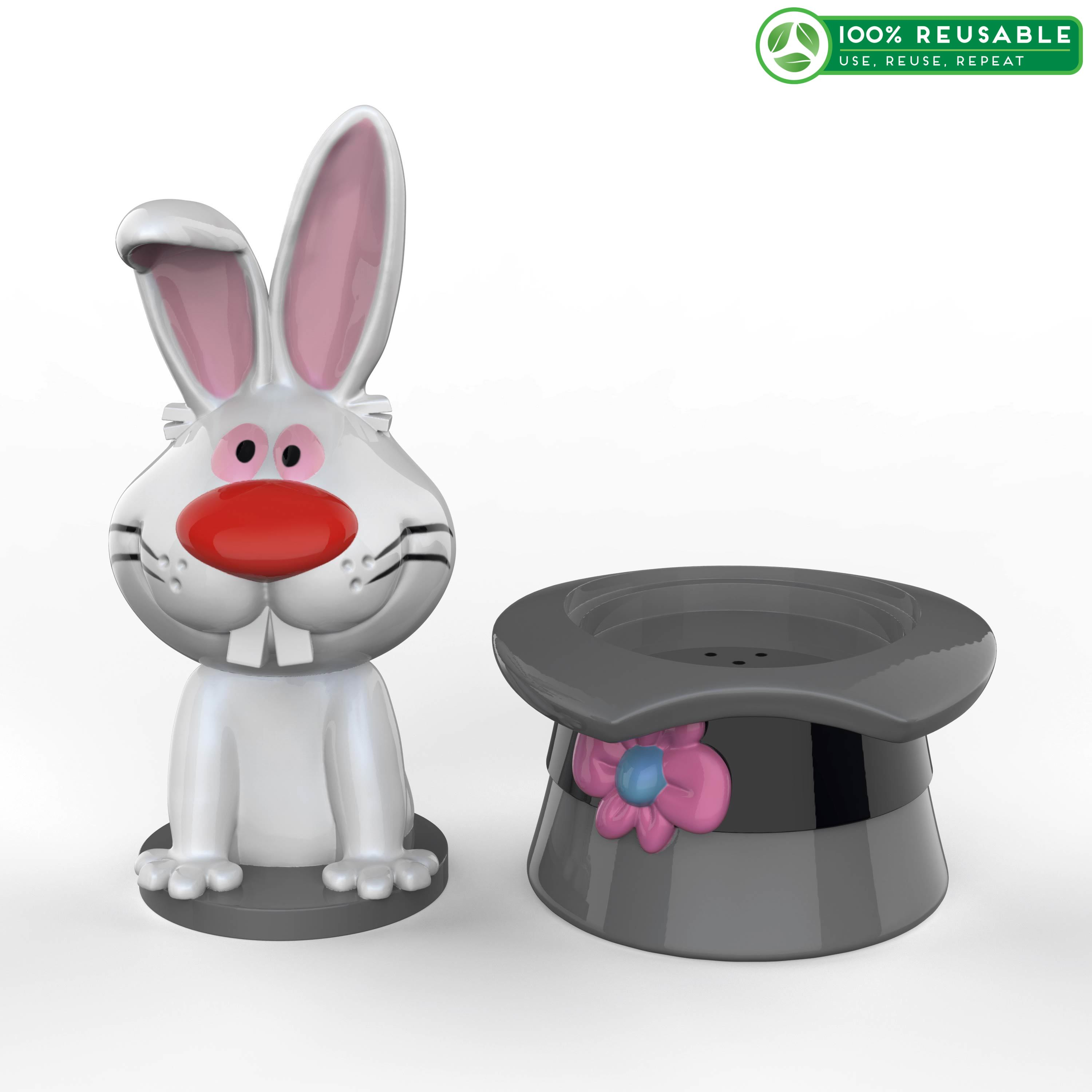 Frosty the Snowman Salt and Pepper Shaker Set, Top Hat & Bunny, 2-piece set slideshow image 1