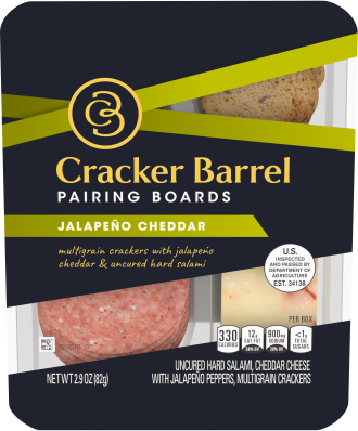 Cracker Barrel Pairing Boards, Jalapeño Cheddar, Uncured Hard Salami & Multigrain Crackers, 2.9 oz