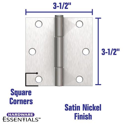 Hardware Essentials Squeak-Proof Square Corner Satin Nickel Door Hinges (3-1/2