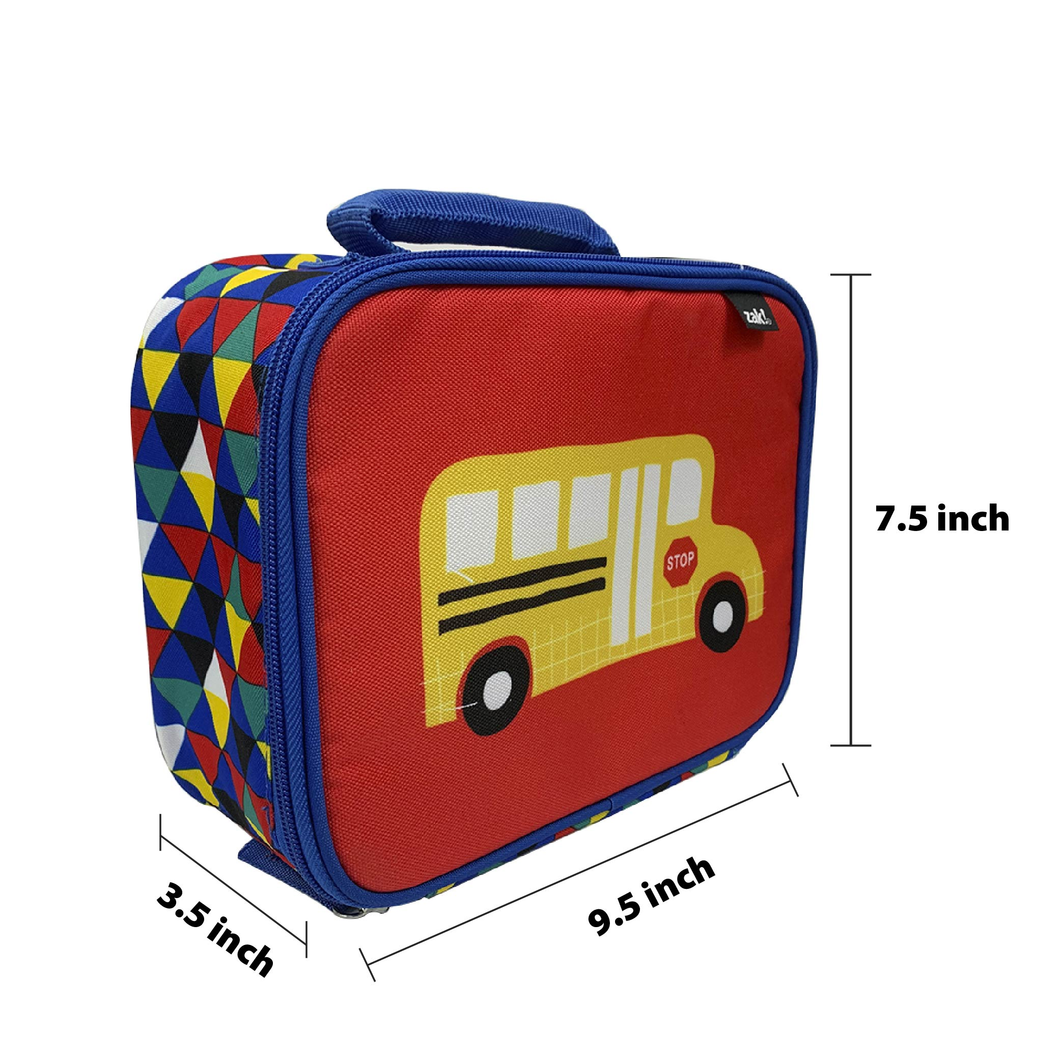 Grid Lock Insulated Reusable Lunch Bag, Buses slideshow image 4
