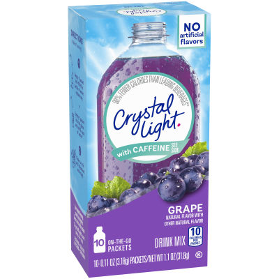 Crystal Light On-The-Go Sugar-Free Grape Energy Drink Mix with Caffeine, 10 - 0.11 oz Packets